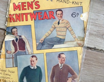 40's Knitting patterns booklet Mens knitting patterns wartime mans knitting book vintage knitting patterns FREE Shipping