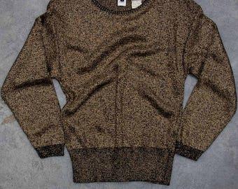 Pierre Cardin Vintage Sweater Gold Metallic Sweater Unworn Deadstock Black & Gold Thin Drape Crewneck Sweater New Old Stock Original Tags 7U