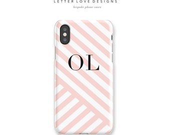 Personalized iPhone X Case with Stripe iPhone 6 iPhone 7 iPhone 8 Plus Case Samsung Galaxy S8 Case Monogram Phone Case Custom iPhone Case