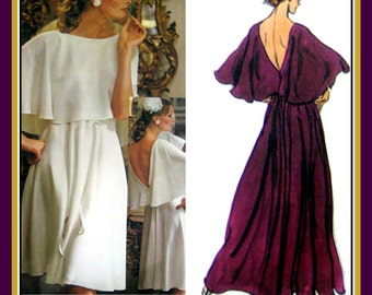 Vintage 1970s-Dreamy Designer Evening Gown-Vogue Sewing Pattern-Two Styles-Caplet-Dramatic V Back-Flowing Skirt-Sash Tie-Size 14-Mega Rare
