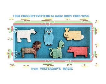 Instant Download PDF Easy CROCHET PATTERN to make 6 Soft Baby Cot Toy Pets & Wild Animals Rabbit Cat Owl Polar Bear Lion Pig Chunky Yarn