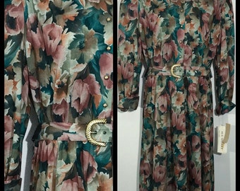 Vintage Sue Sherry Matronly Modest Floral & Belted Dress Size 18W