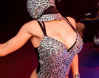 Sexy Body, Sexy Costume, Rave Wear, Sexy Dancewear, Festival Clothing, Stripper Clothing, Rave Clothing, Body In Rhinestones, Rave Outfit