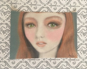 Pop Surreal Big-Eyed Redhead Shimmer Girl Art Painting