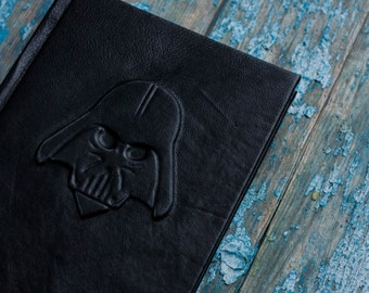Darth Vader journal Black leather journal   Black pages Leather book Darth Vader book Travel journal Black diary Star wars  inspired