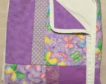 "Purple Butterfly Quilt 60"" x 72"""