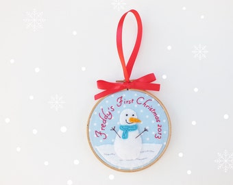 Baby's first Christmas ornament, personalized Christmas ornament, snowman, baby girl, baby boy holiday tree decoration, baby shower gift