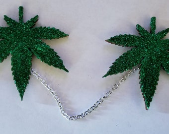 Pot leaf jewelry,  Pot leaf sweater clips, Marijuana leaf, Faux leaf, Pot jewelry