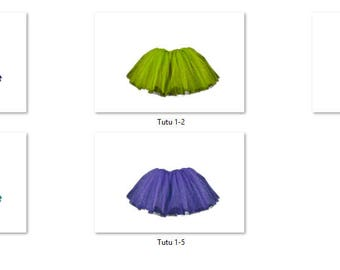 Tutu 1 Overlays Pack 1 Same Tutu 5 different colors Bold Bright Photoshop PNG Translucent Background
