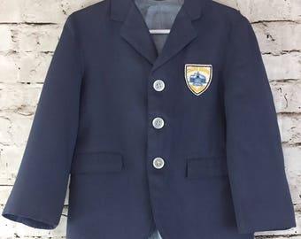 Vintage Toddler Boys Blue Blazer Jacket 2T - 3T College Bound Patch