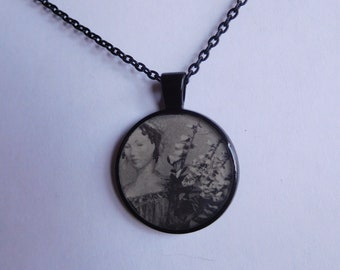 women holding flowers vintage looking resin pendant necklace