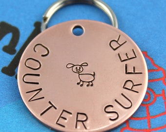 """Custom Copper Dog Tag -  Personalized Dog Name ID Tag - """"Counter Surfer"""""""