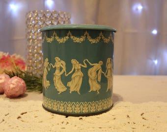 Beautiful Vintage Blue and White Grecian Motif Tin,Tea Tin,Cookie Tin,Chocolate Tin,Collectible Tins,Antique Tins,Vintage Tin,Victorian Tins