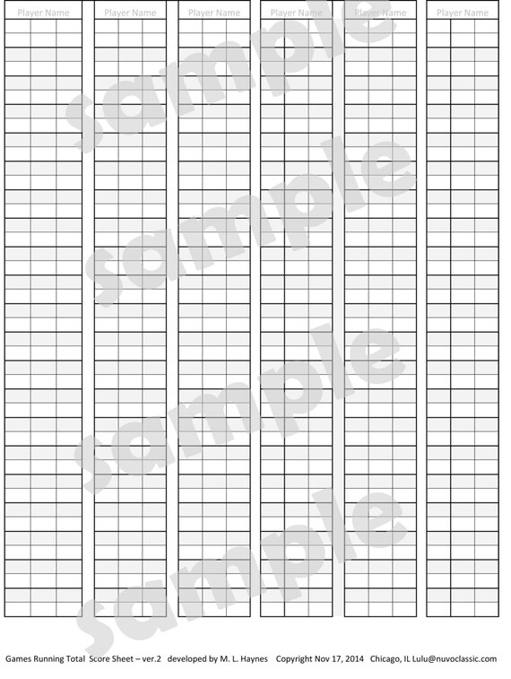 Printable Digital Download Scoresheet For Scoring Games