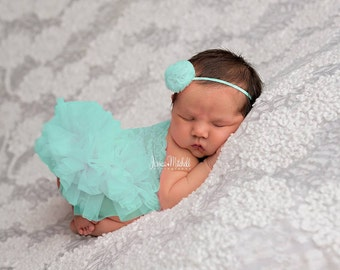 Teal Newborn Tutu Dress, Photography Props, Newborn Photography, Baby Tutu, Teal Tutu, Newborn Girl Dresses, Photo Prop, Mint, Romper