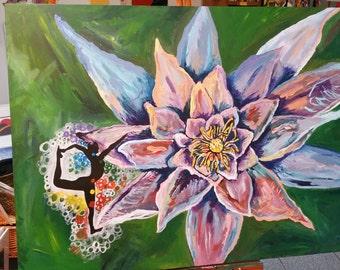 Lotus Pose original acrylic painting 36x48 ready to hang.