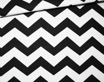 Cotton fabric printed 50 x 160 cm, zigzag, chevron, black and white