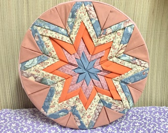 Vintage Cheese Box with Star Quilt Cover, Quilted Wooden Cheese Box Starburst, Large Storage Box, Sewing Box