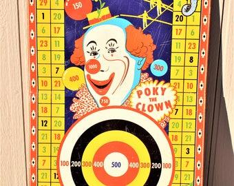 Vintage Poky The Clown Tin Dart Board Wyandotte Toy