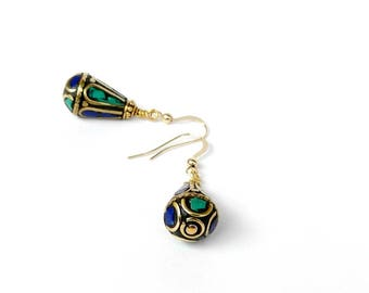 Turquoise and Lapis Lazuli Earrings, Nepal Jewelry, Ethnic Jewelry, Tribal Earrings, Gemstone Jewelry, Boho Blue Green Jewelry, Gold Filled