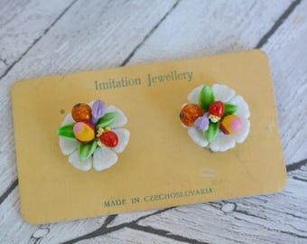 Vintage Deadstock Unworn Glass and Plaster Novelty Fruit Earrings On Original Card Packaging