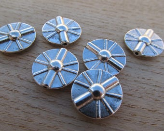 Flat round bead 16 mm antique silver colored metal.