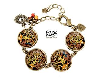 Tree of life bracelet retro jewelry spiral Gustav Klimt reproduction