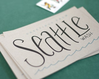 Greetings from Seattle Postcards / Postcard Set of 6 / Seattle Washington / PNW Travel Postcards / Hand Lettered Seattle Postcard Set