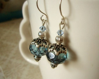 LAST PAIR - Earrings - Ice Blue Czech Picasso Glass, Swarovski, and Silver Beaded Dangle Earrings - Winter Blue Skies Jewelry
