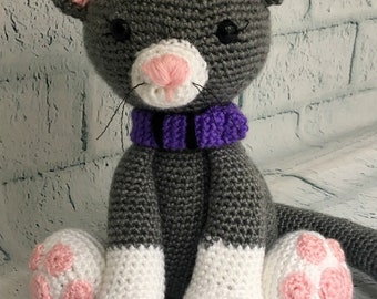 Kitten Stuffed Animal Crochet Amigurumi Handmade Toy Cat Gray and White