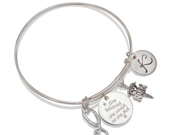 Personalized RN Nurse Graduation Gift Bangle Bracelet Stethoscope Charm Pinning Ceremony Gift Idea All Sterling Silver