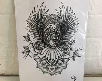 Eagle Print. A4. By Jo Chastney