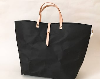 Tote Bag with Closure no lining  : Tyvek and Kraft paper tote bag/market bag/handbags/lunch bag/shopping bag/washable bag and eco friendly