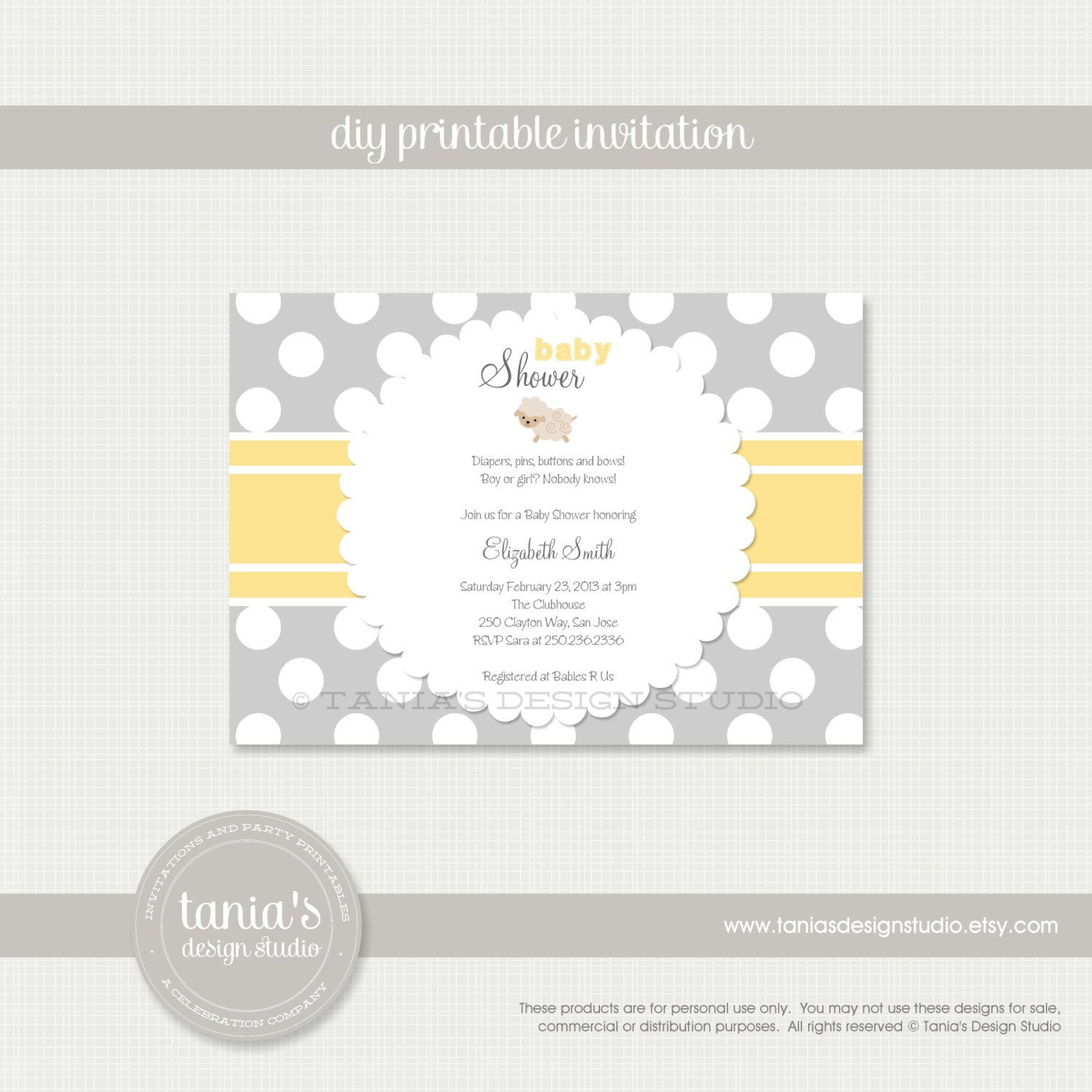 Little Lamb Printable Baby Shower Invitation by tania\'s
