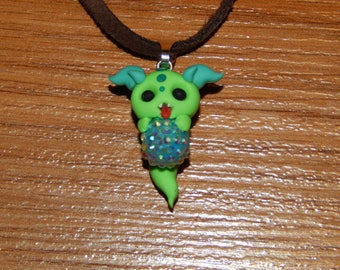 Green Ghost Monster Necklace