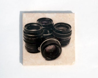 Vintage Camera Lenses Stone Coaster (Black and White Modern Art) Photographer Gift - Home Decor