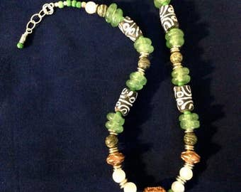 COPPER AND GLASS _ Green And Black African Inspired Recycled Glass And Trade Bead Necklace