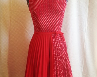 Sweet as pie, red polka dot dress, with pleated skirt