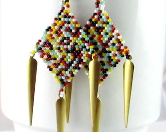 Diamond Dagger Chandelier Earrings - Multi Colored