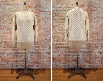 Avoca Collection Aran Fisherman Sweater // Made in Ireland - Women's L