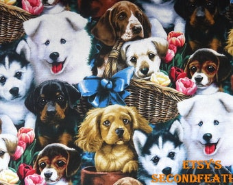 Happy Puppy - Jenny Newland for David Textiles - 100% Cotton - 1/2 Yard - more for one cut - B8