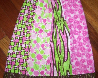 CHOCOLATE BUBBLEGUM Girl, Ready to Ship Size 2 2T Toddler, Pillowcase Dress Chocolate Brown, Pink, Lime Dots, Swirl Pattern