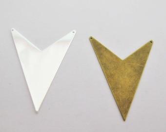 x 1 large 52mm brass bronze or silver chevron triangle pendant