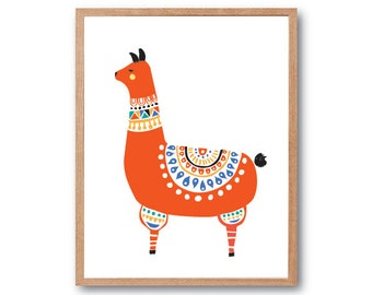 FOLK COSTUME Llama Art Print, llama illustration, Animal Illustration, Children's Book Art, Kids room art, Nursery Decor, home decor