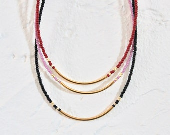 MARKDOWN/ Beaded Necklace / Seed Bead Necklace/ Gold Plated Tube Necklace