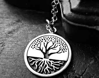 Inspiring Etched Tree Of Life Necklace - Tree Of Life - Tree of Life Necklace - Sterling Silver Tree Necklace - Tree of Life with Roots