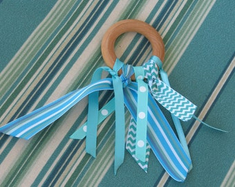 Teething Ring-Ribbons in Aqua-Natural Maple Hardwood rings-Great Baby Gift