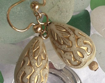 Antiqued Gold and Ivory Earring Drops