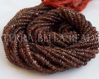 "13"" strand AAA ANDALUSITE faceted gem stone rondelle beads 2.5mm - 3mm brown"
