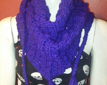 Purple Triangle Scarf with Tassels
